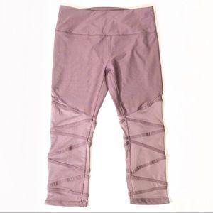 Reebok Pink Mesh Capri Leggings